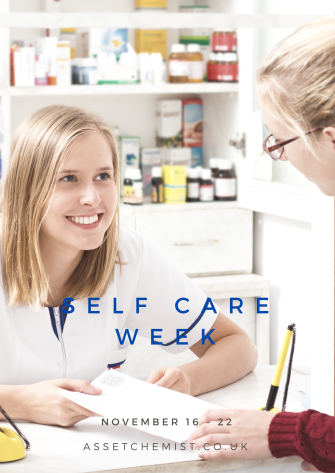 Self Care  week. Pharmacist support customer slfcare